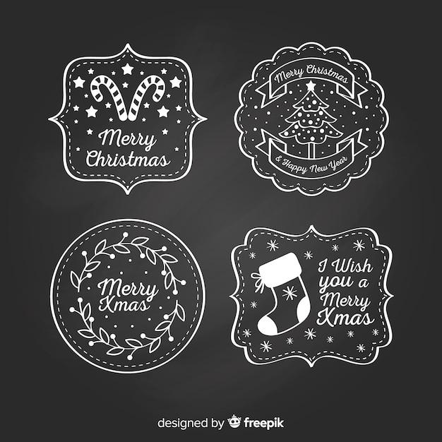 Коллекция рождественских наклеек blackboard Premium векторы
