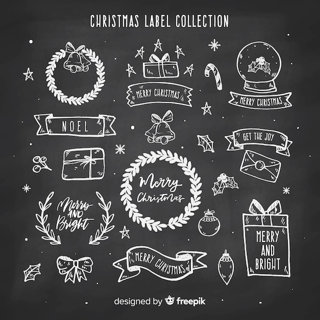 Blackboard christmas label collection Free Vector