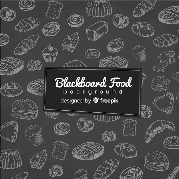Blackboard food background Free Vector