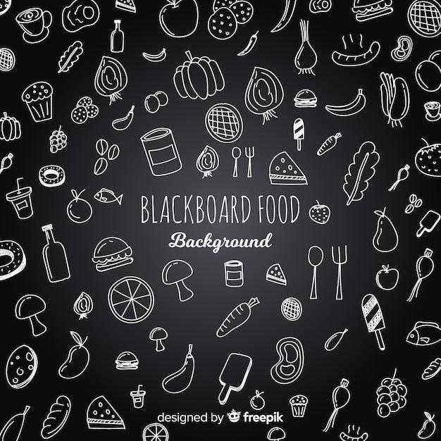 Blackboard food background Free Vector