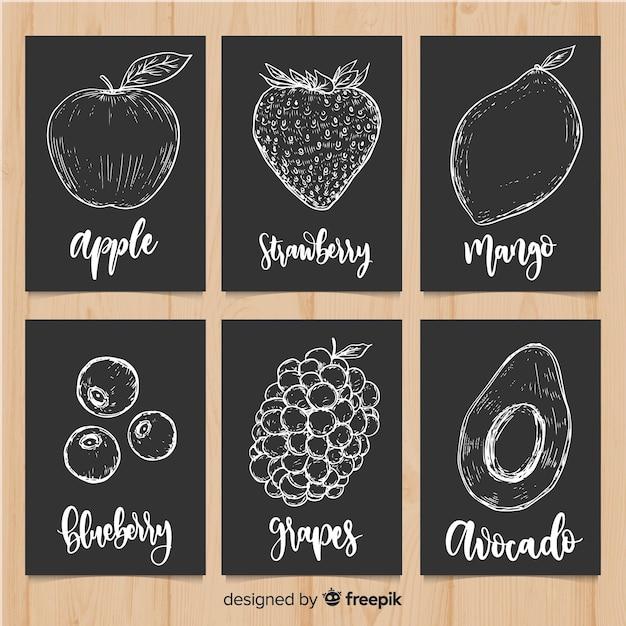 Blackboard fruit food card set Free Vector