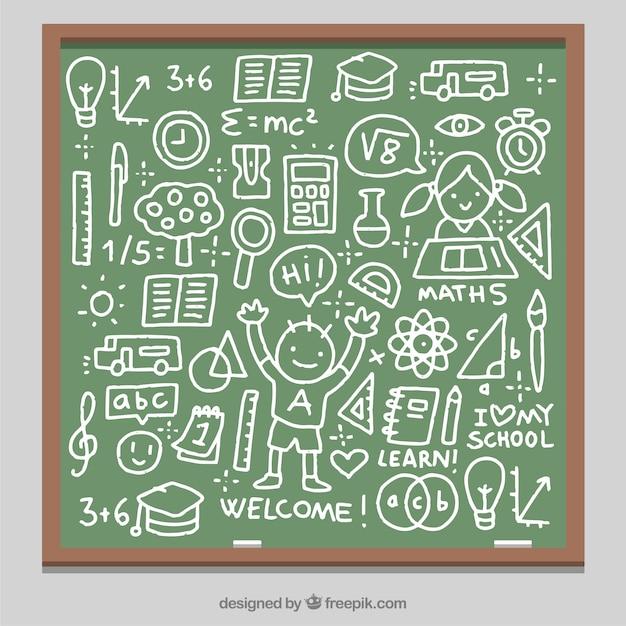 Blackboard full of fun drawings