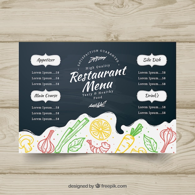Blackboard menu template in horizontal format vector for Horizontal menu templates free download
