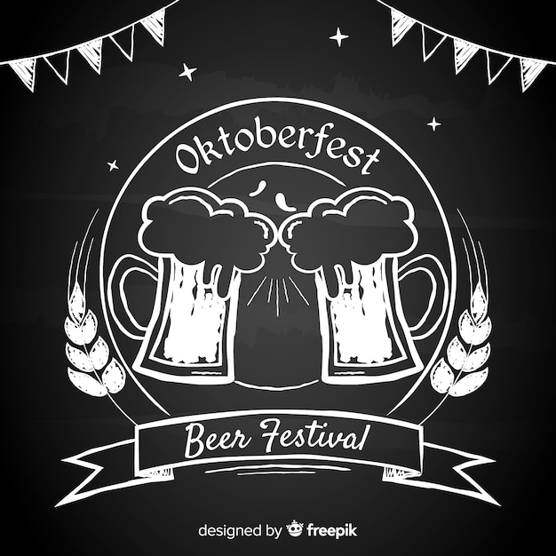 Blackboard oktoberfest background Free Vector