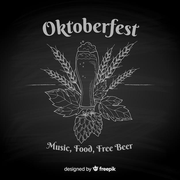 Blackboard oktoberfest background Free Vector