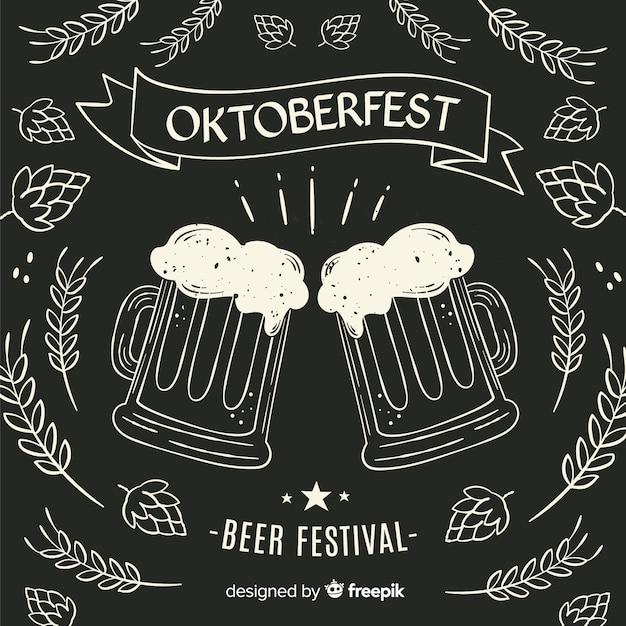 Blackboard oktoberfest beer mugs Free Vector