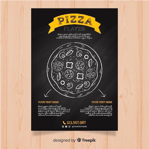 Blackboard pizza restaurant flyer Free Vector