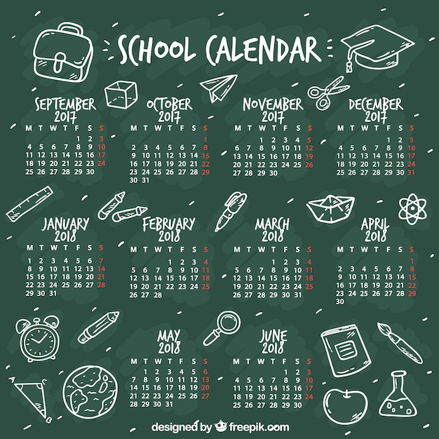 Blackboard school calendar with sketches