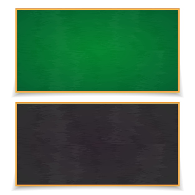 Blackboard set with shadows isolated on white. school board. Premium Vector