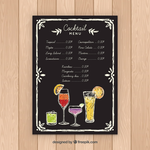 Blackboard style cocktail menu template Free Vector