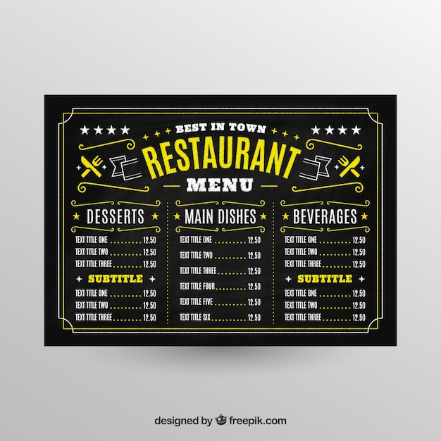 Blackboard style menu template for a restaurant Free Vector