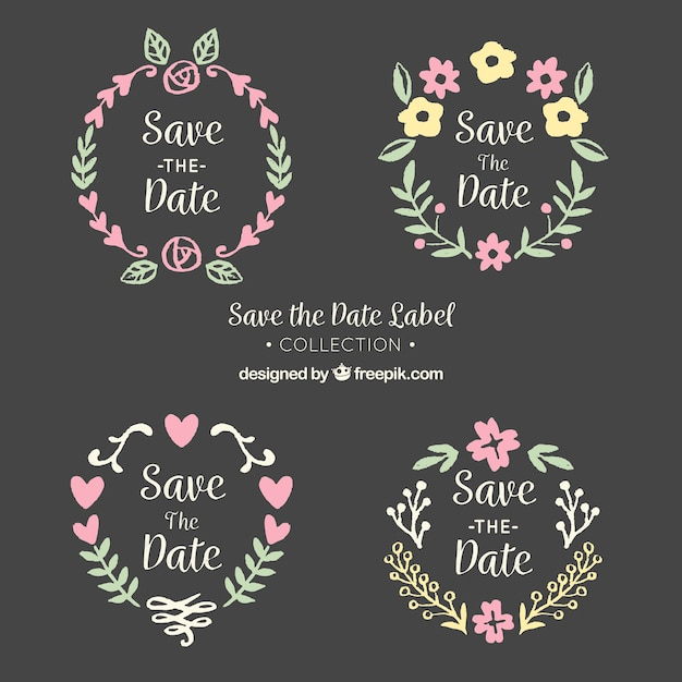 Blackboard wedding labels with cute frame