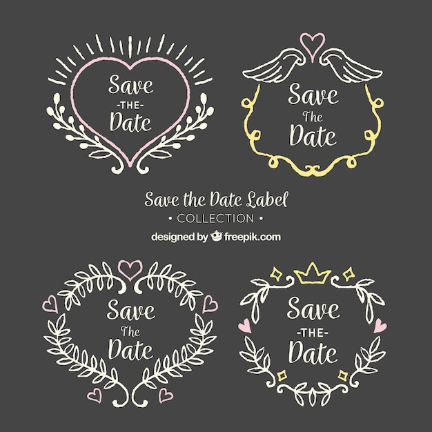 Blackboard wedding labels with heart and leaves