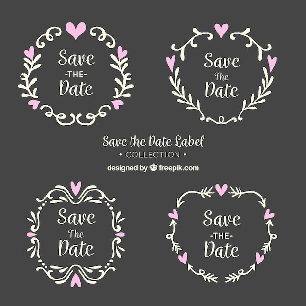 Blackboard wedding labels with leaves and hearts