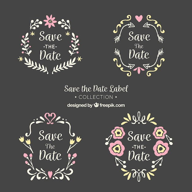 Blackboard wedding labels with lovely frmaes