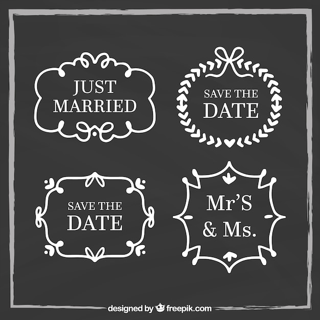Blackboard wedding labels with retro style