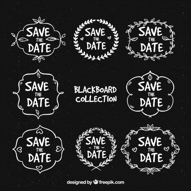 Blackboard wedding labels with variety of frames