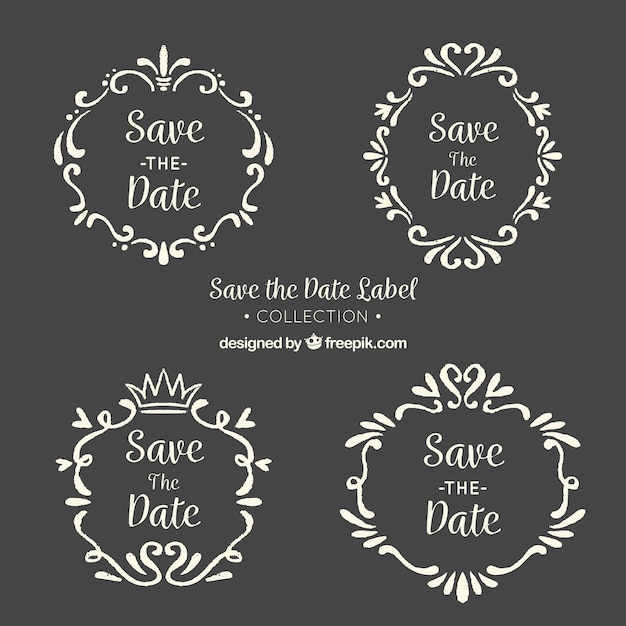 Blackboard wedding labels with vintage frame