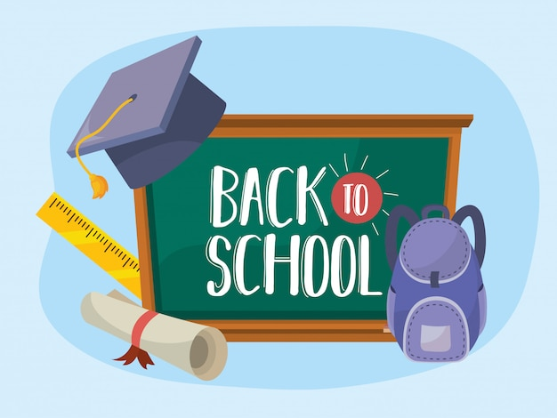 Blackboard with graduation cap and backpack with diploma Free Vector