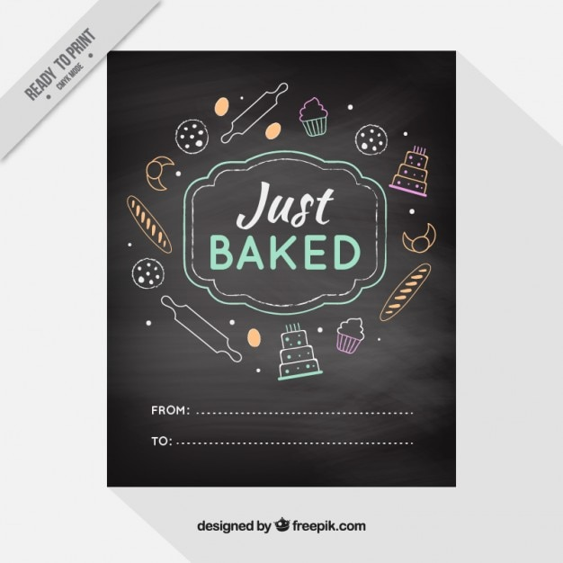 Blackboard with hand drawn  bakery products