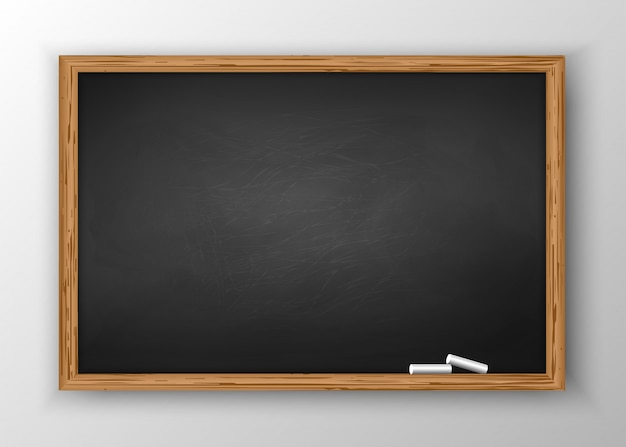 Blackboard with wooden frame Premium Vector