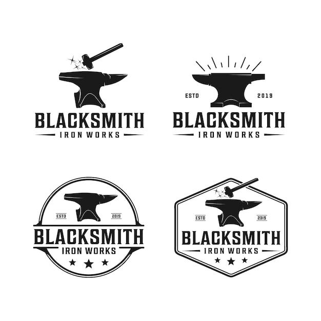 Blacksmith anvil badge vintage logo. iron works, metal works retro hipster logo Premium Vector