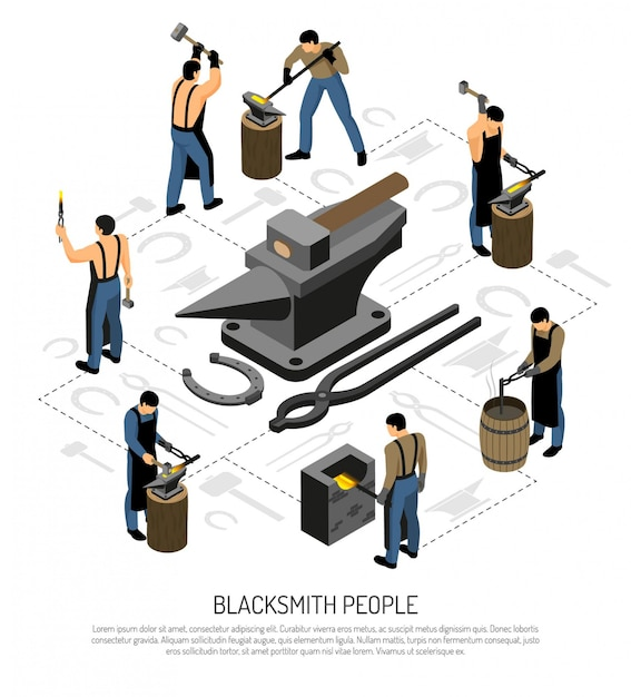 Blacksmith in apron with professional tools and equipment during work set of isometric icons Free Vector
