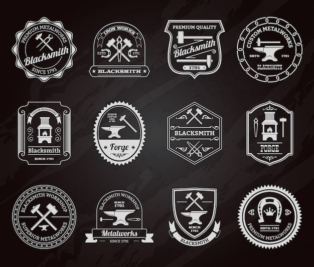Blacksmith badge chalkboard Free Vector