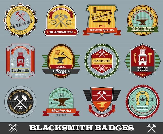 Blacksmith badges set Free Vector