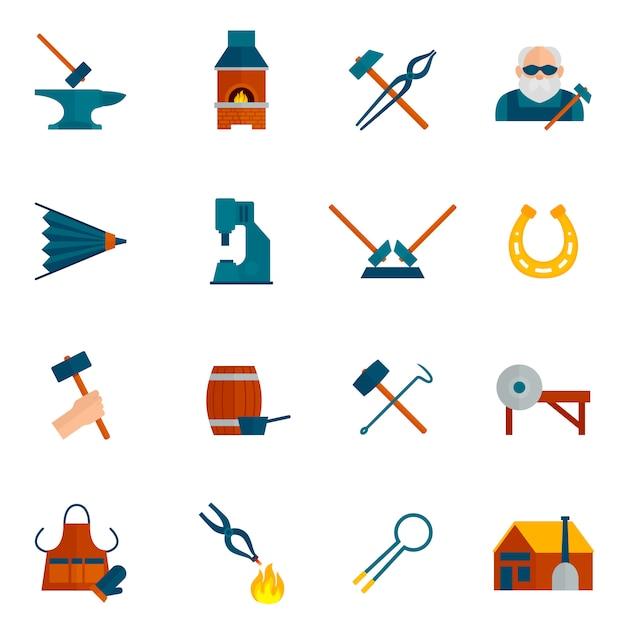 Blacksmith icon flat Free Vector