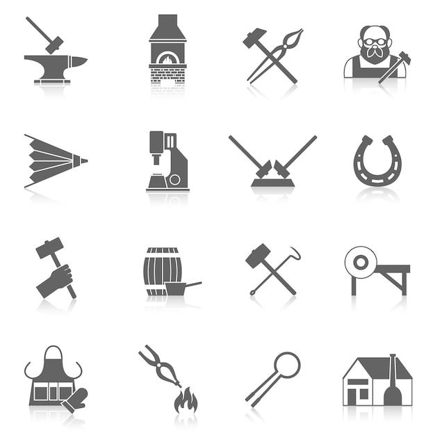 Blacksmith icon set Free Vector