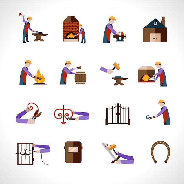 Blacksmith icons set Free Vector