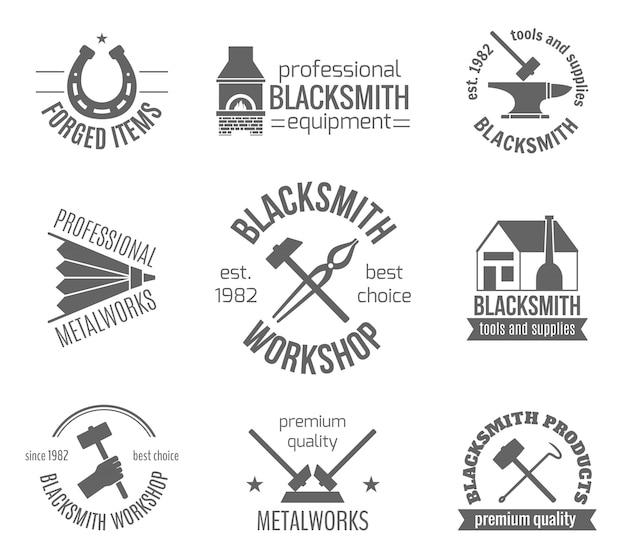 Blacksmith label set Free Vector