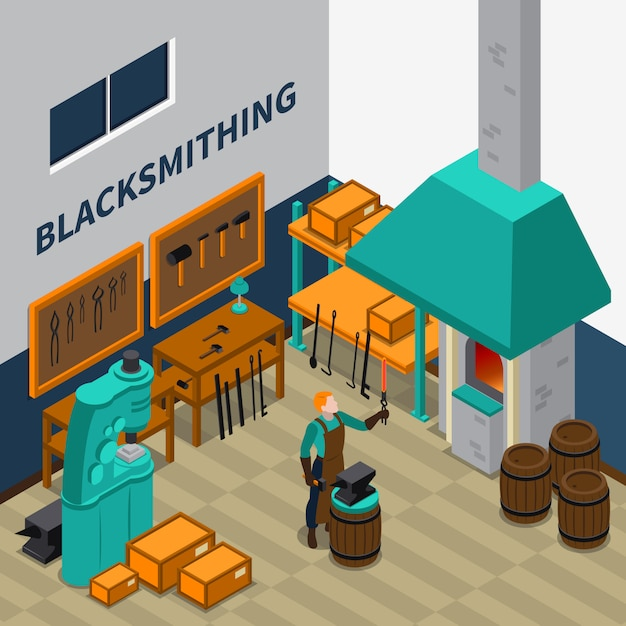 Blacksmith shop facility indoor isometric poster Free Vector