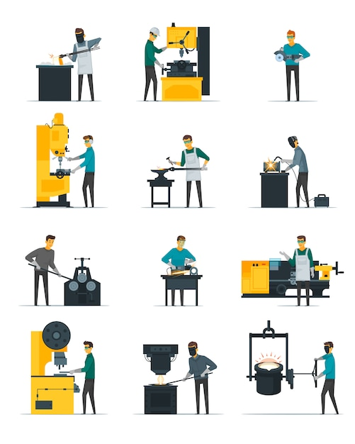 Blacksmith at work flat icons set with metal melting casting forging and hammering on anvil isolated Free Vector