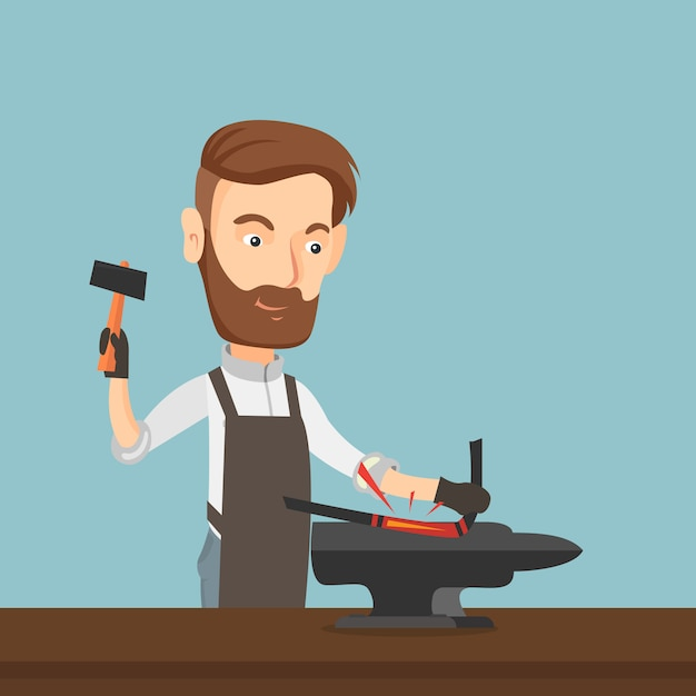 Blacksmith working metal with hammer on the anvil. Premium Vector