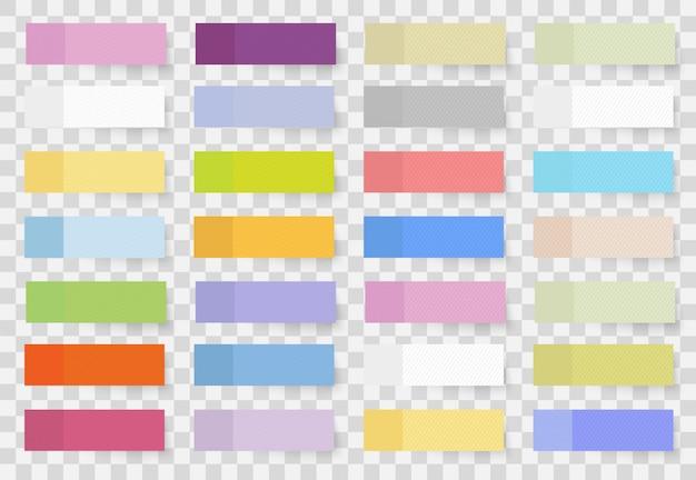라벨링 정보를위한 접착 메모 용지의 빈 접착 시트. 색깔의 다른 모양의 스티커와 플래그 현실적인 스타일의 집합입니다. 프리미엄 벡터