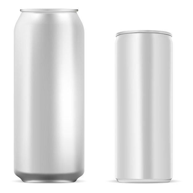 Blank aluminum tin. energy drink can. juice, soda Premium Vector