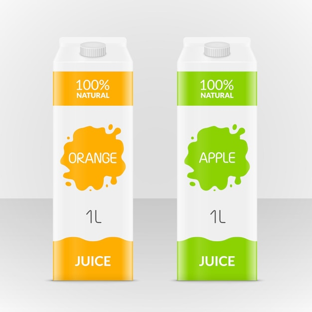 Blank apple or orange juice carton branding box. juice or milk cardboard package. drink small box illustration. Premium Vector
