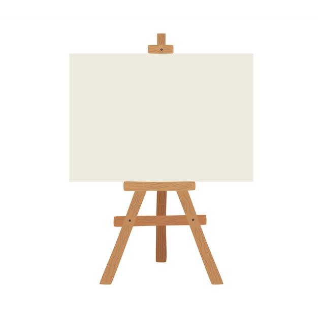 Пустая доска для рисования и реалистичный деревянный мольберт Premium векторы