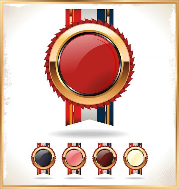 blank award ribbon rosette vector premium download