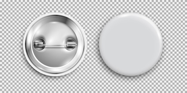 Blank badge, 3d white round button, pin button isolated Premium Vector