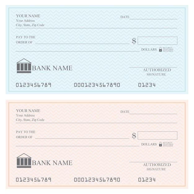 Blank bank checks or cheque book, vector illustration. Premium Vector