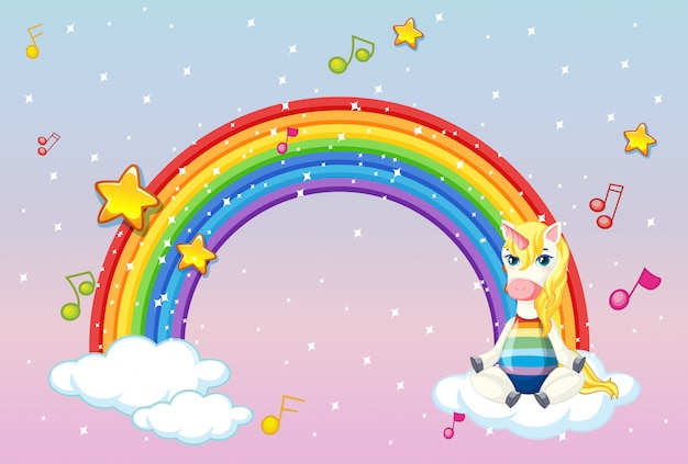 Blank banner with cute unicorn in the pastel sky background Free Vector