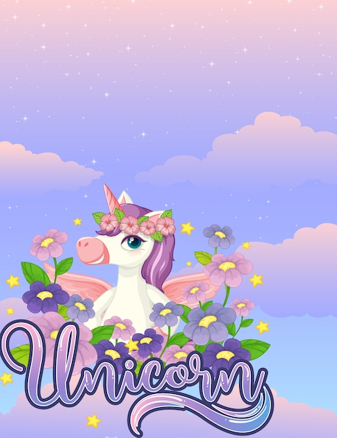 Blank banner with cute unicorn in the pastel sky Free Vector