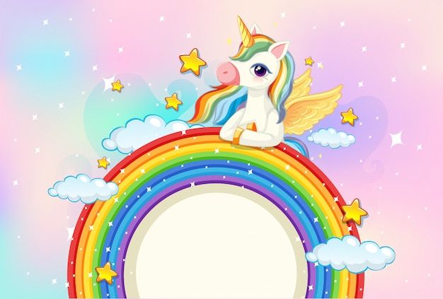 Blank banner with cute unicorn on rainbow in the pastel sky background Free Vector