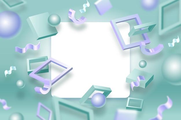 Banner bianco con forme geometriche Vettore gratuito