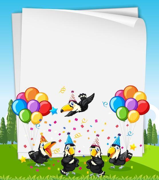 Banner in bianco con molti uccelli in tema di festa Vettore gratuito
