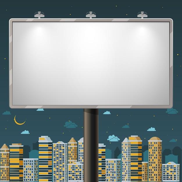 夜間の空白の看板。コマーシャル、屋外ボードポスター、ベクターイラストを宣伝する 無料ベクター