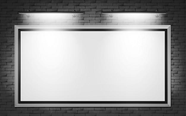 レンガの壁にブランクの看板ディスプレイ 無料ベクター